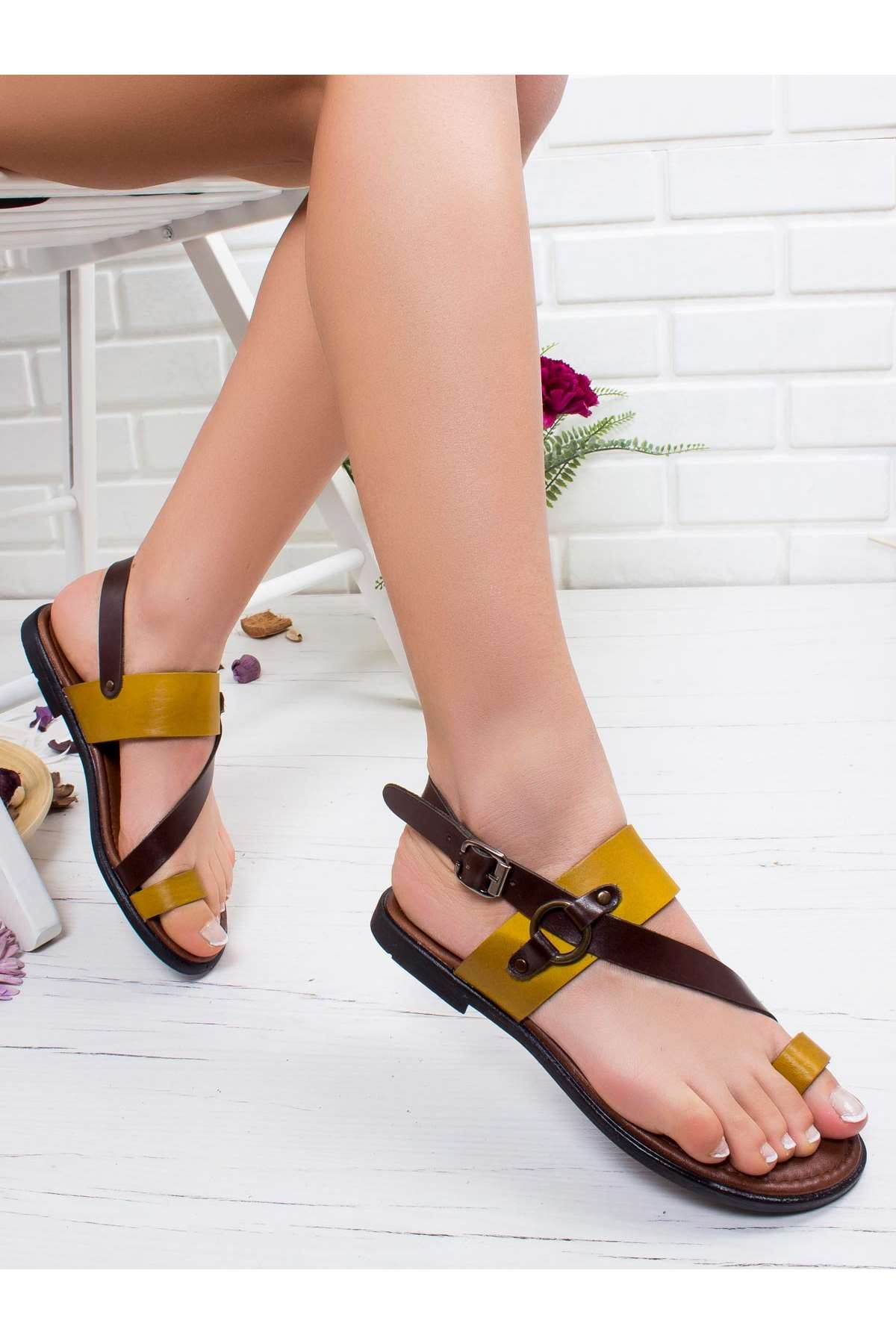 Fiona Hakiki Deri Sandalet MİX