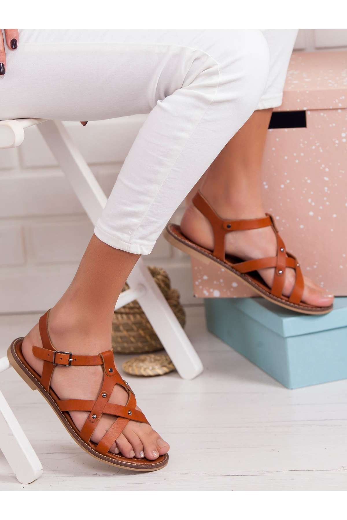 Gaspara Hakiki Deri Sandalet TABA