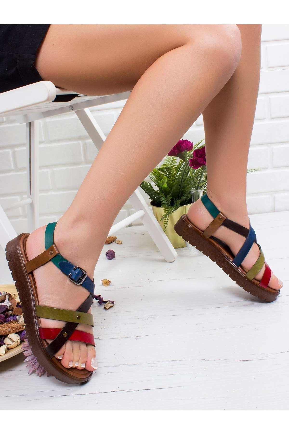 Elsa Hakiki Deri Sandalet MİX2