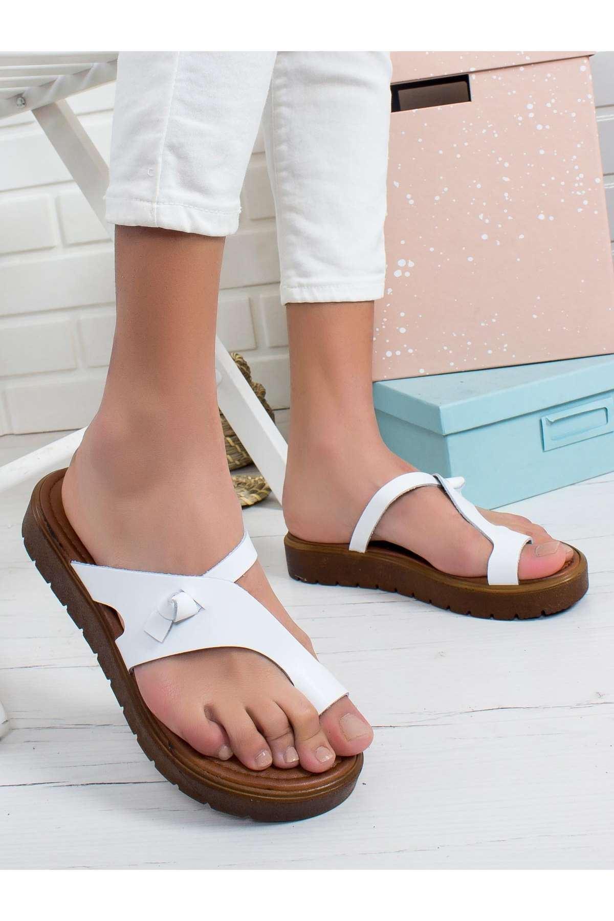 İren Hakiki Deri Sandalet BEYAZ