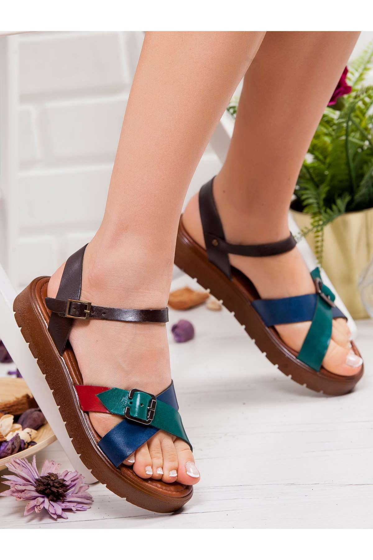 Olive Hakiki Deri Sandalet MİX