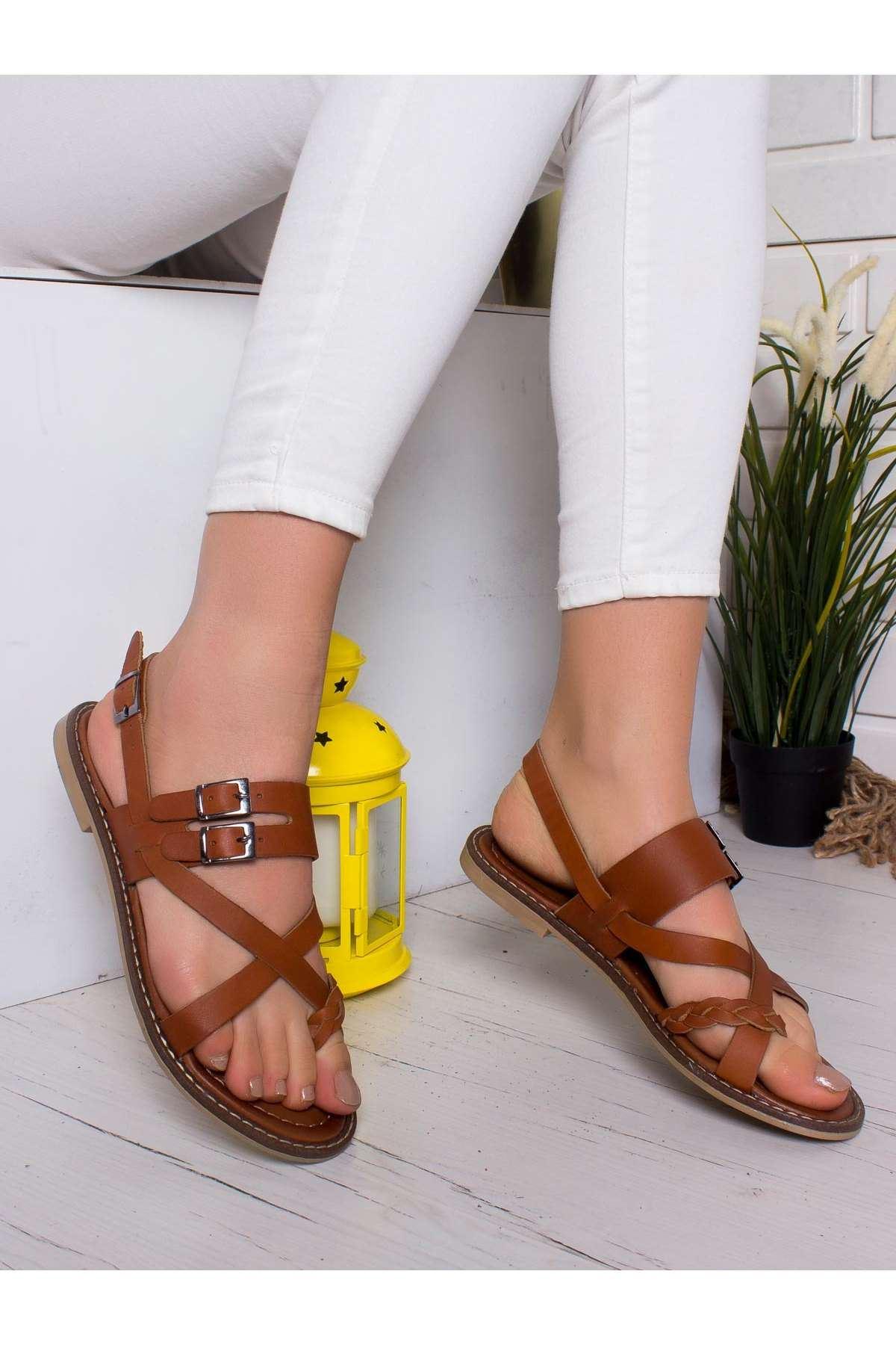 Tais Hakiki Deri Sandalet TABA