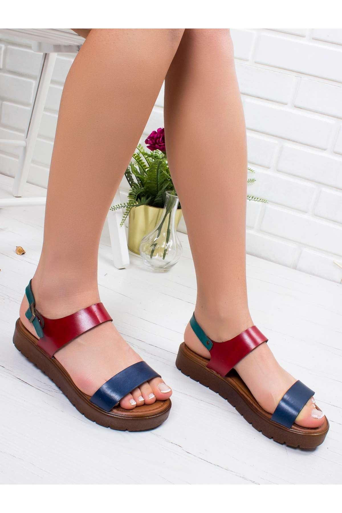 Maria Hakiki Deri Sandalet MİX