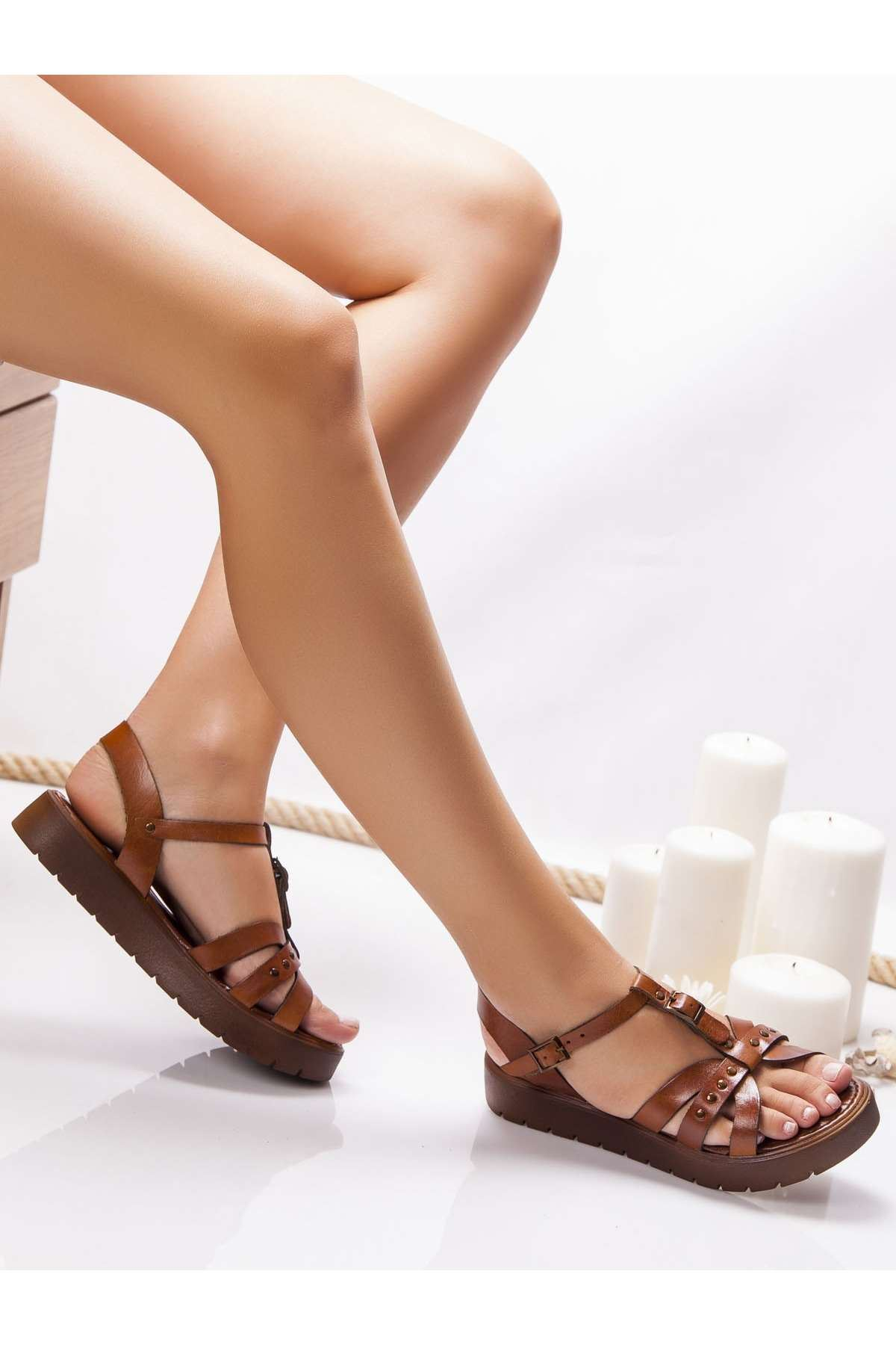 Anita Hakiki Deri Sandalet TABA