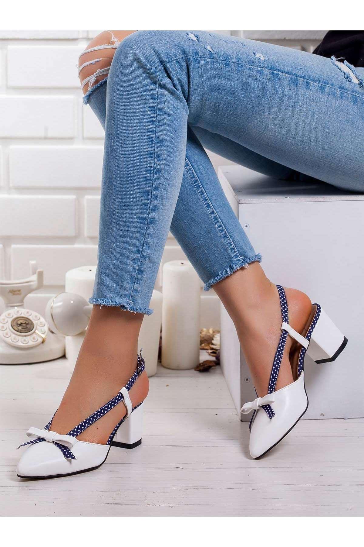 Felicia Topuklu Ayakkabı BEYAZ-LACİVERT