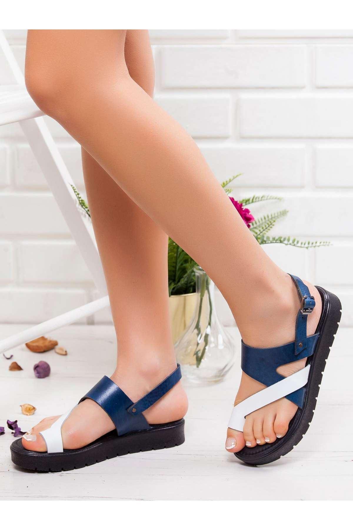 Lona Hakiki Deri Sandalet MAVİ