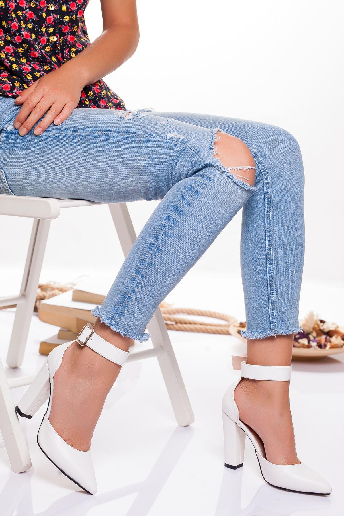 Belle  Topuklu Ayakkabı BEYAZ CİLT