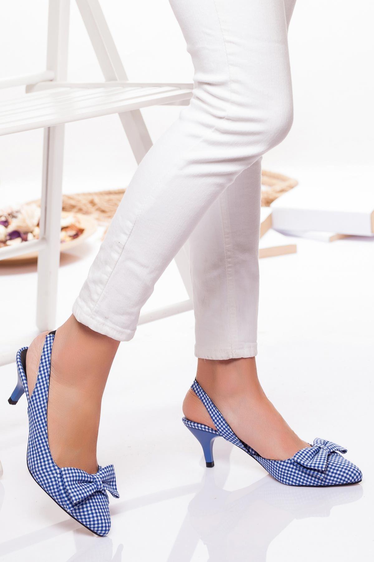 Berit Topuklu Ayakkabı MAVİ EKOSE