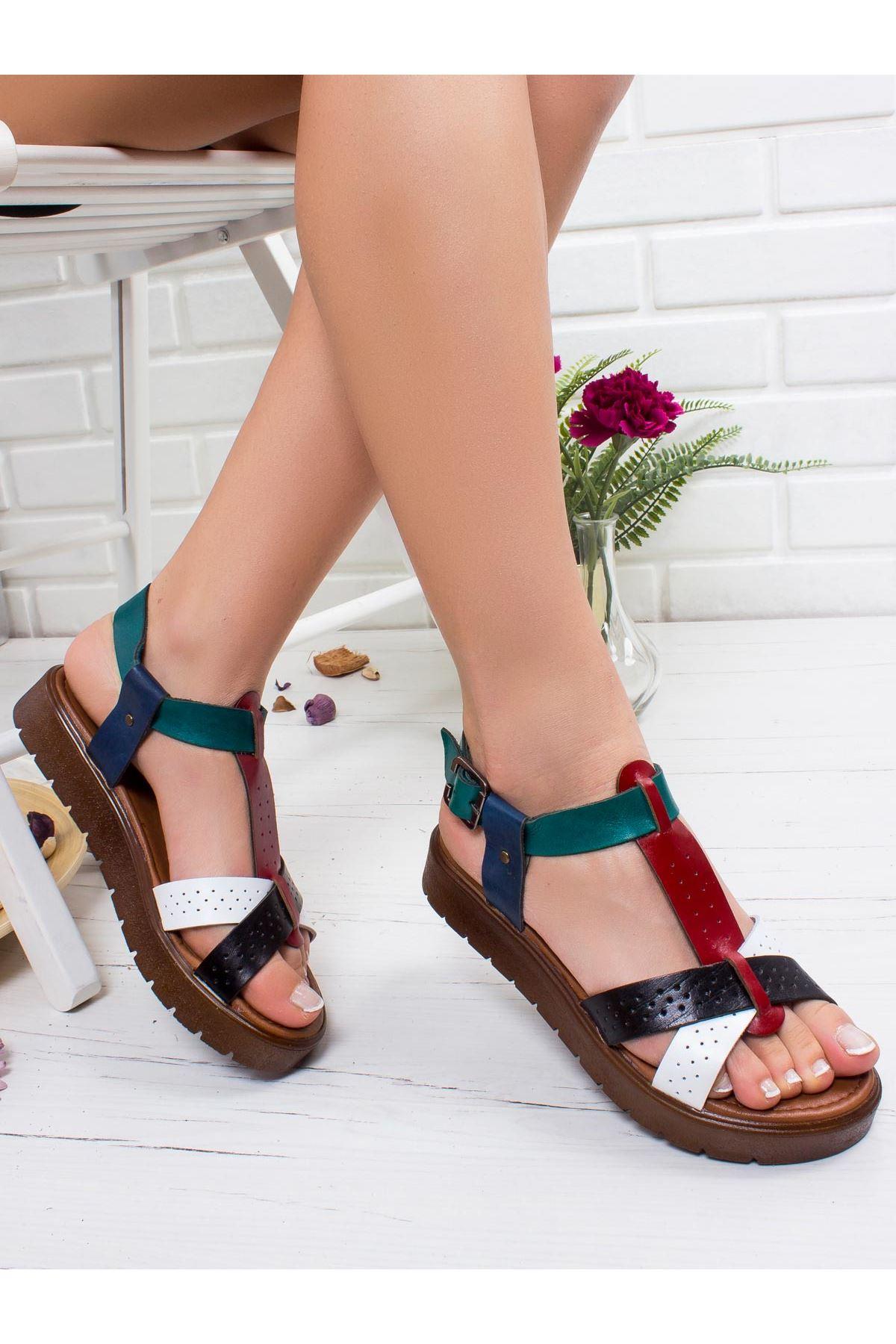 Emma Hakiki Deri Sandalet MİX