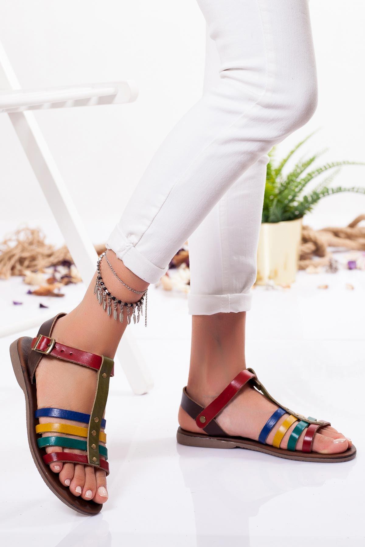 Caroline Hakiki Deri Sandalet MİX
