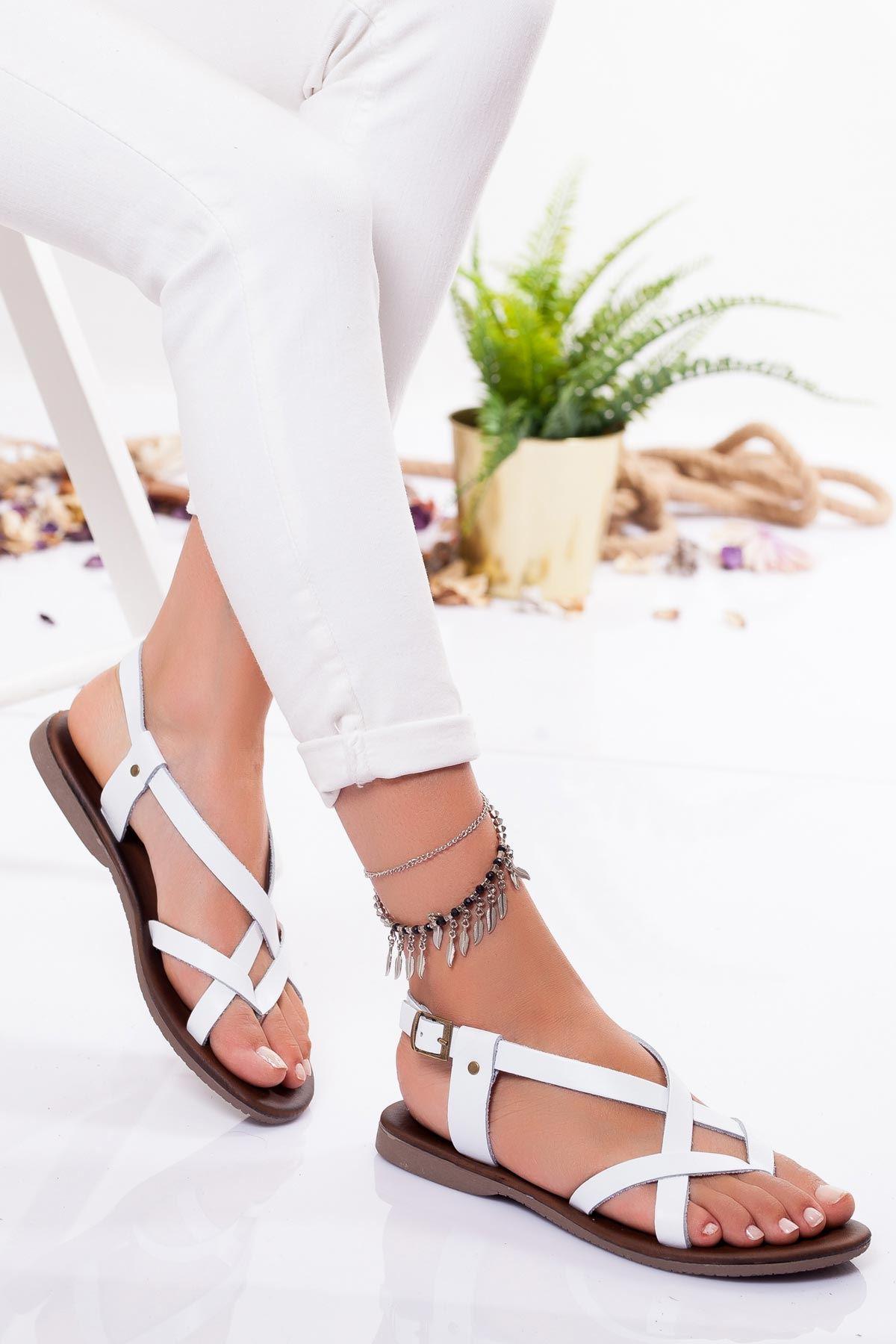 Amara Hakiki Deri Sandalet BEYAZ