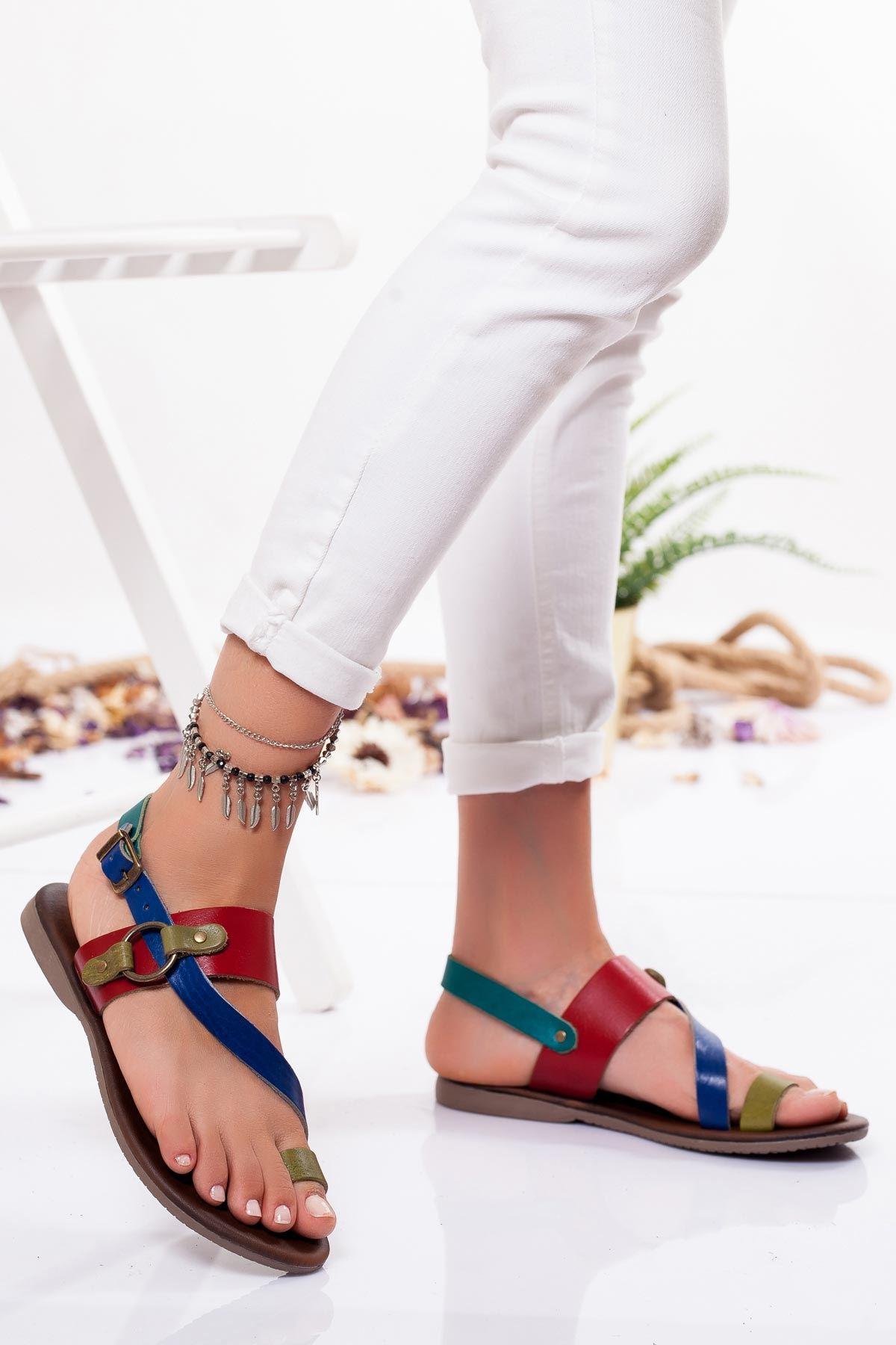 Vice Hakiki Deri Sandalet MİX