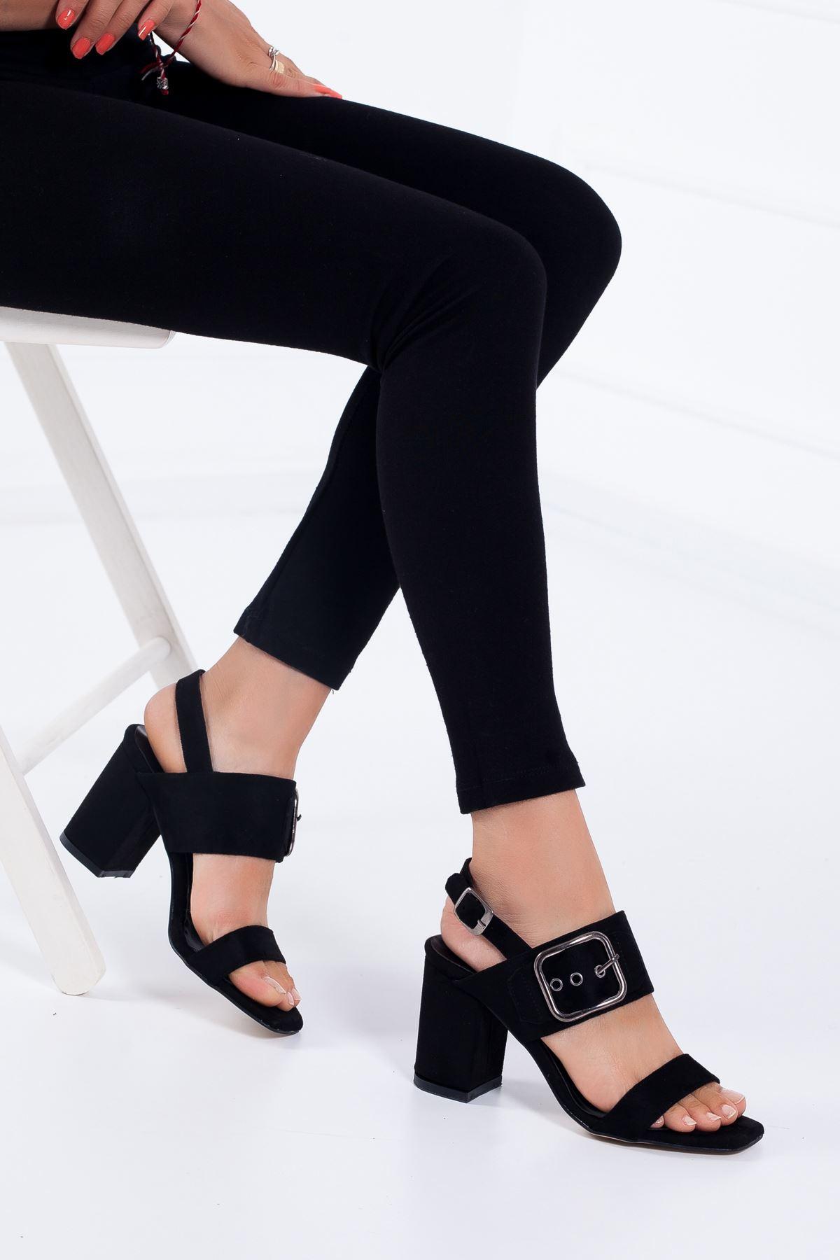 Dina Topuklu Ayakkabı SİYAH SÜET