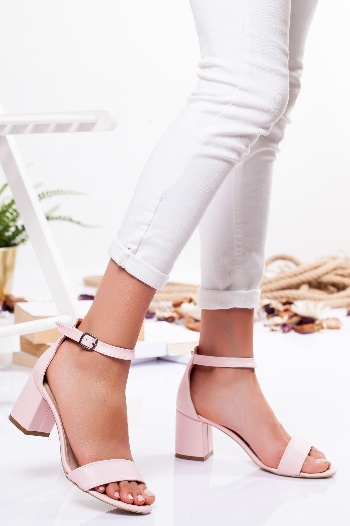 Candy Ayna Topuklu Ayakkabı PUDRA