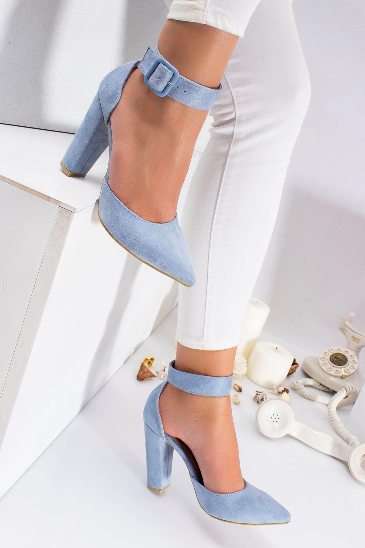 Belle Süet Topuklu Ayakkabı BEBE MAVİSİ