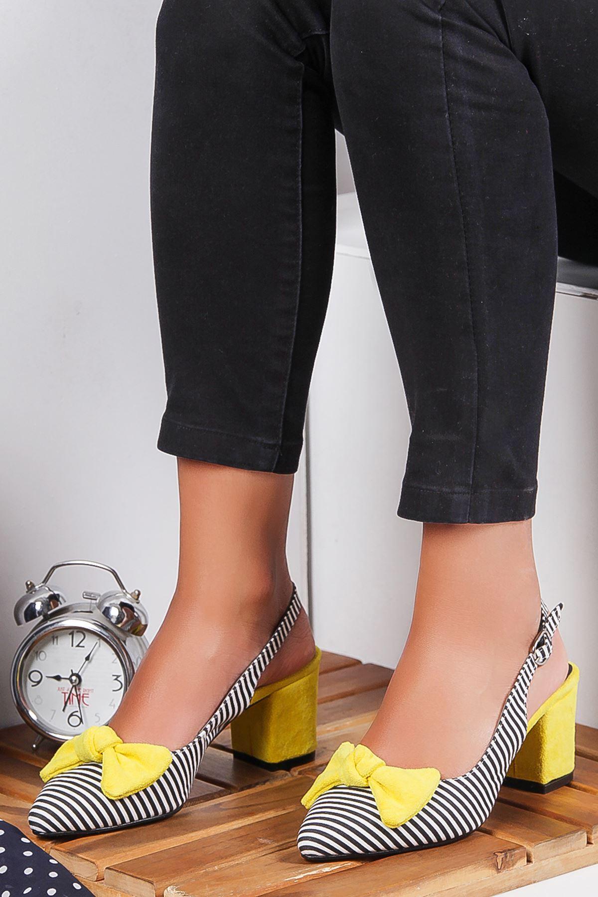 Cally Süet Topuklu Ayakkabı SARI