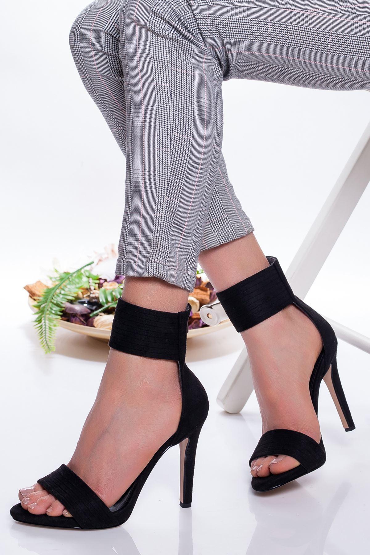 Devon Topuklu Ayakkabı SİYAH SÜET