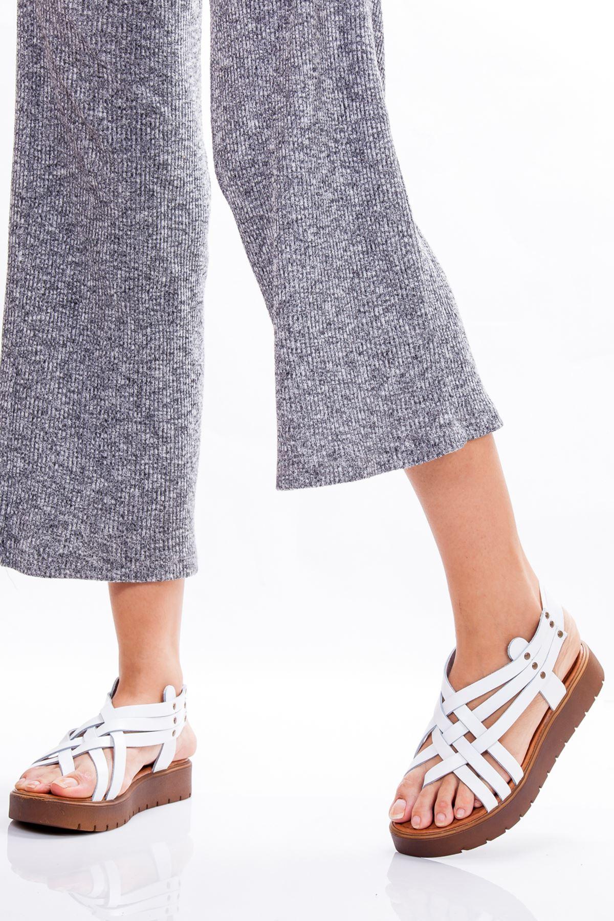 Amor Hakiki Deri Sandalet BEYAZ