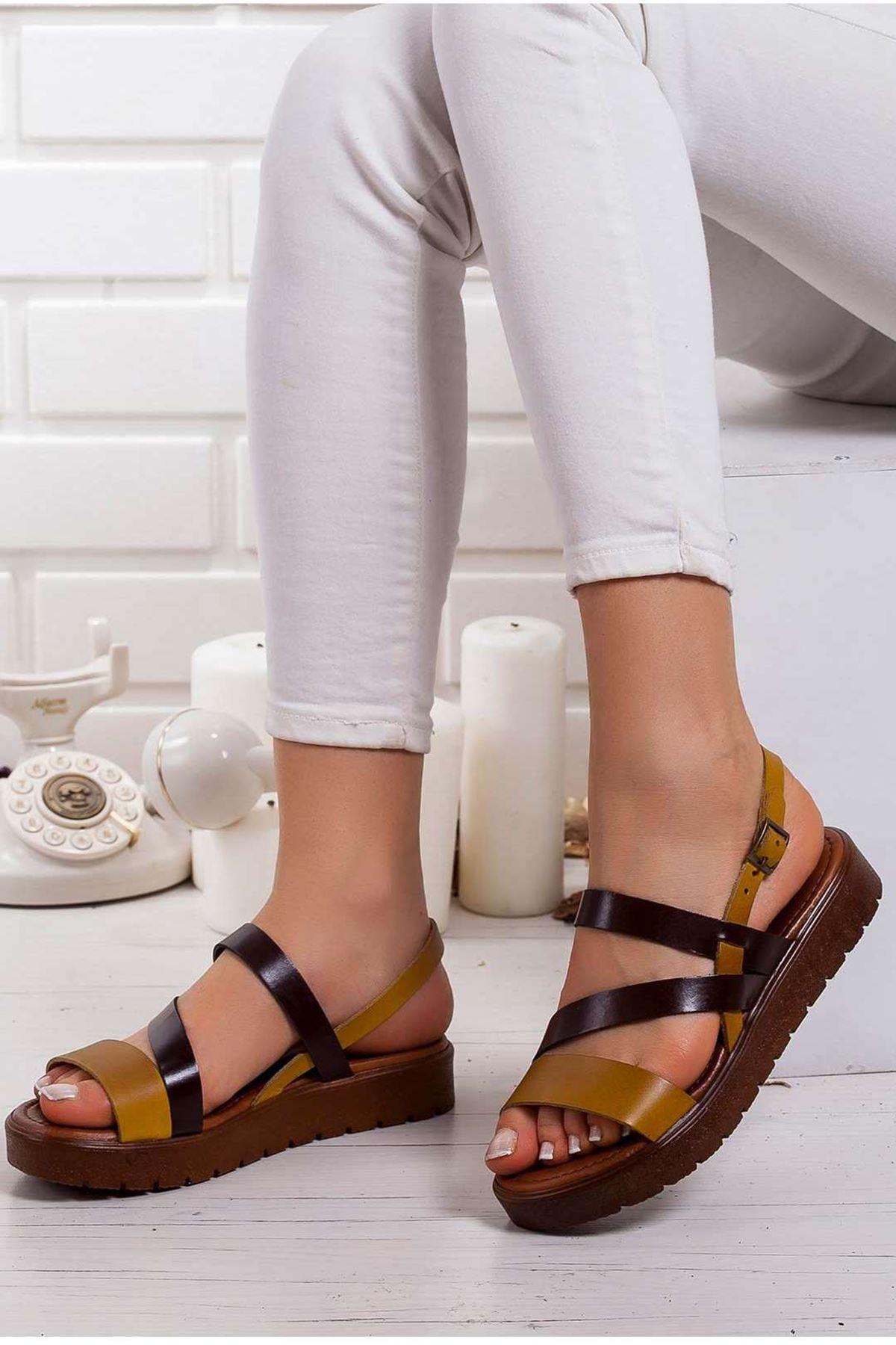 Alisa Hakiki Deri Sandalet SARI