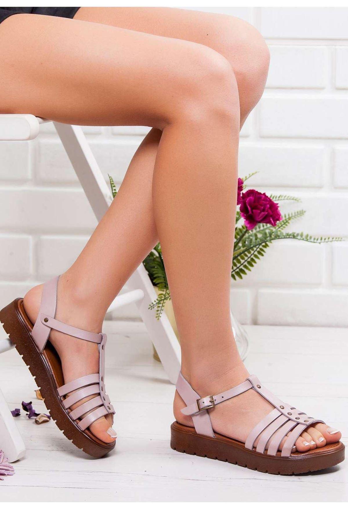 Alya Hakiki Deri Sandalet PUDRA