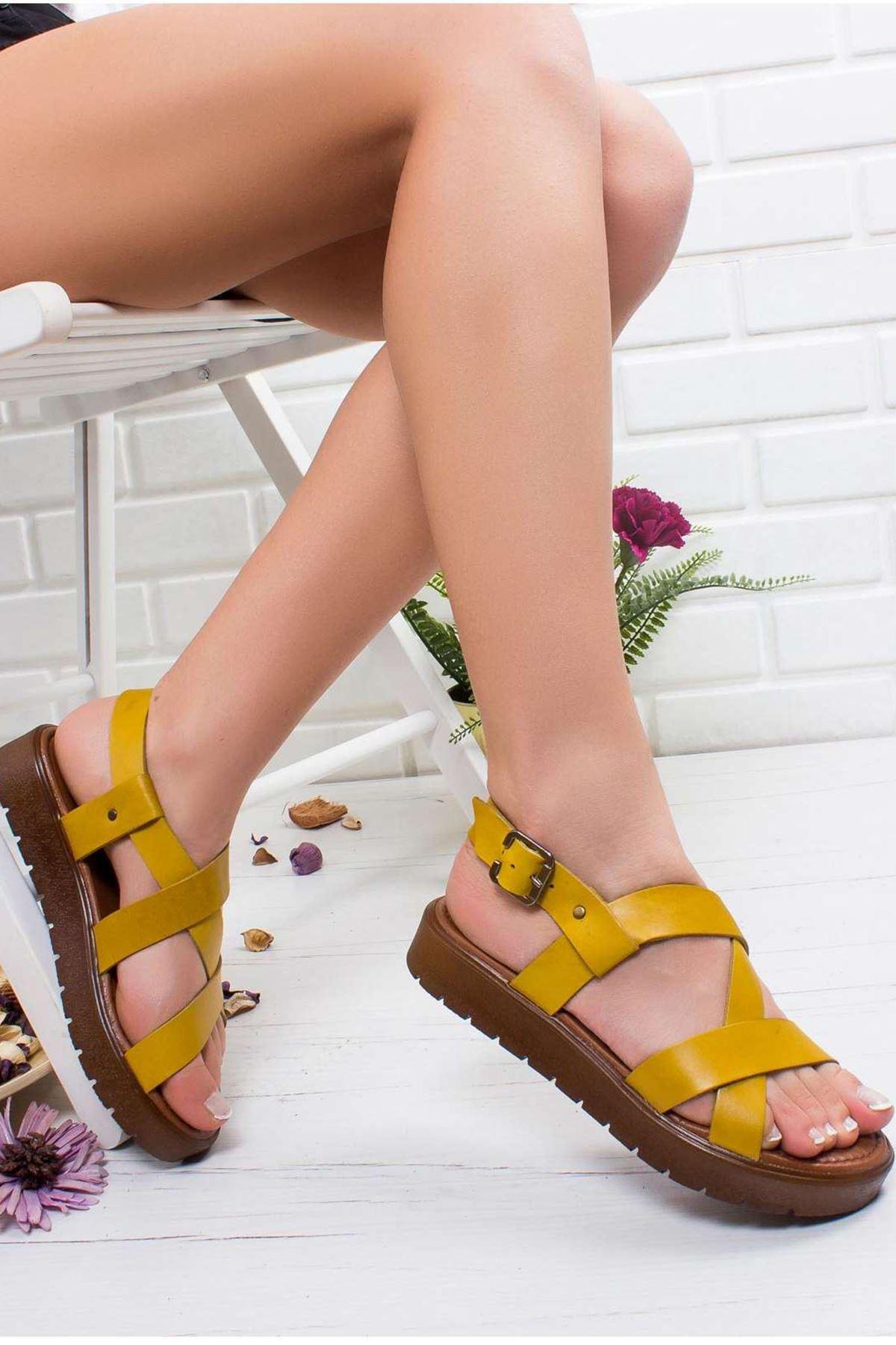 Angela Hakiki Deri Sandalet SARI