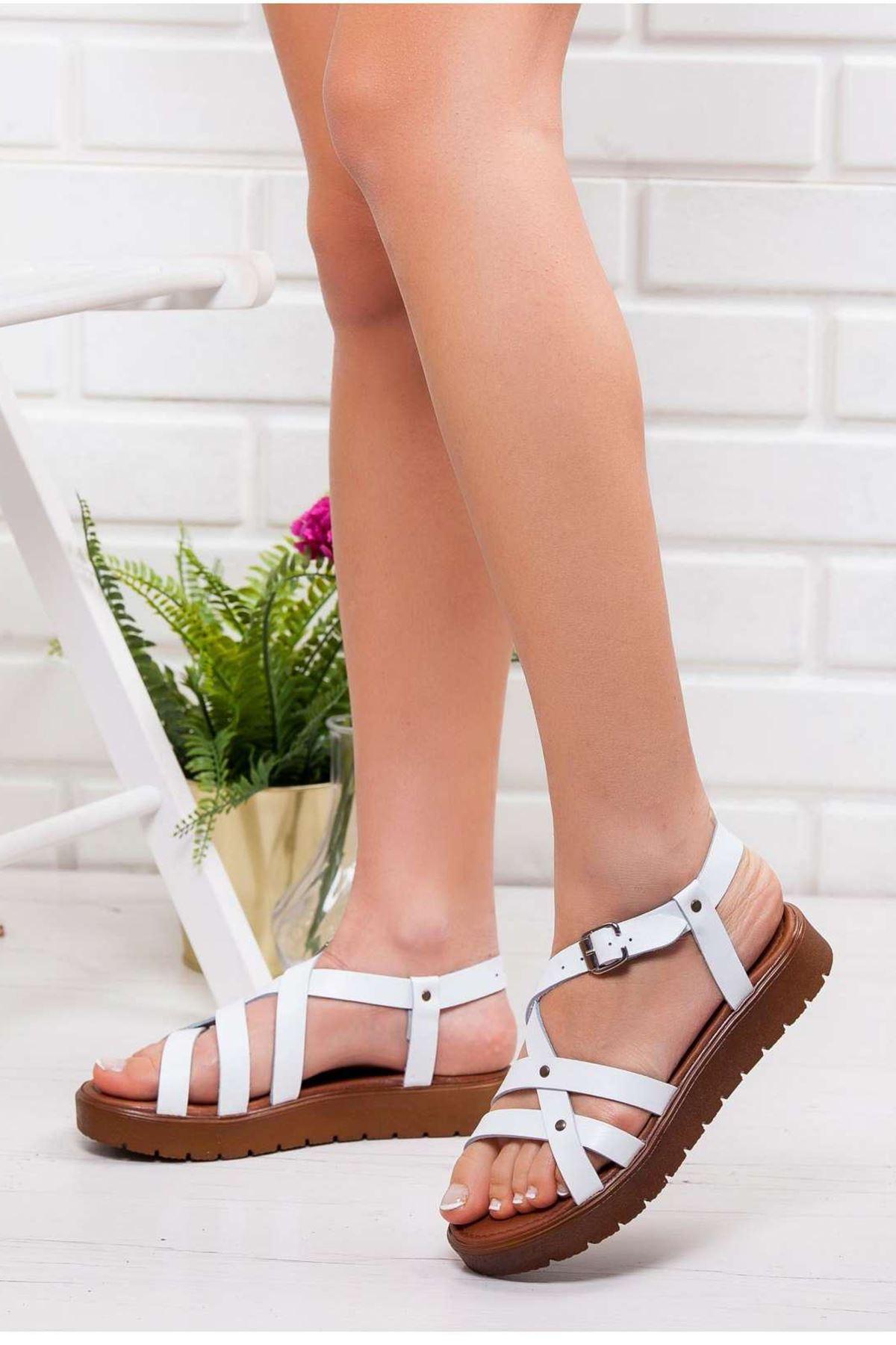 Elsa Hakiki Deri Sandalet BEYAZ