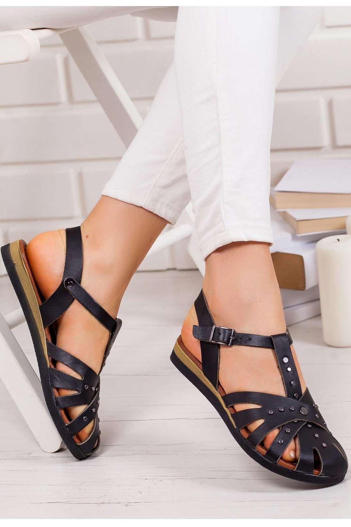 Joy Hakiki Deri Sandalet SIYAH