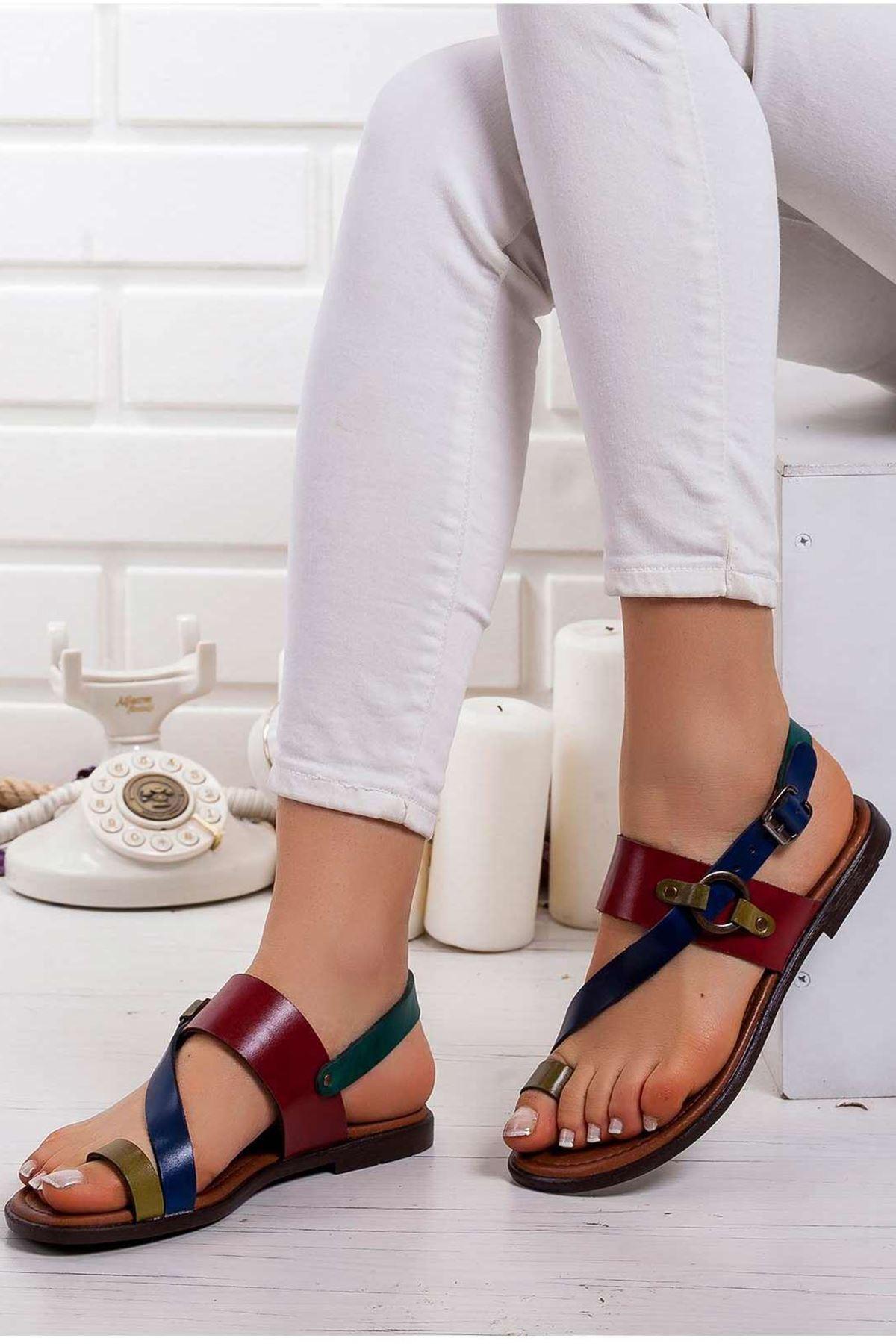 Fiona Hakiki Deri Sandalet MİX2