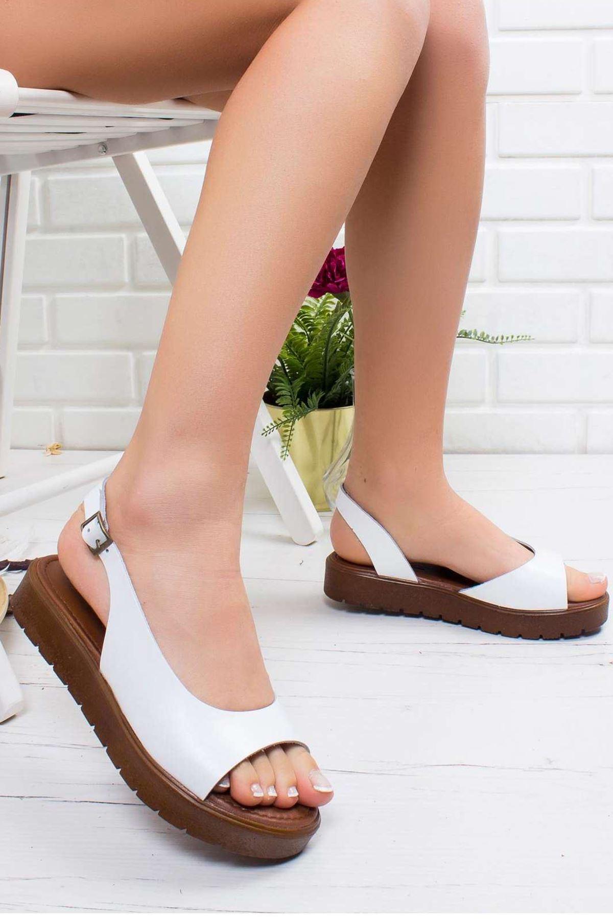 Kayla Hakiki Deri Sandalet BEYAZ