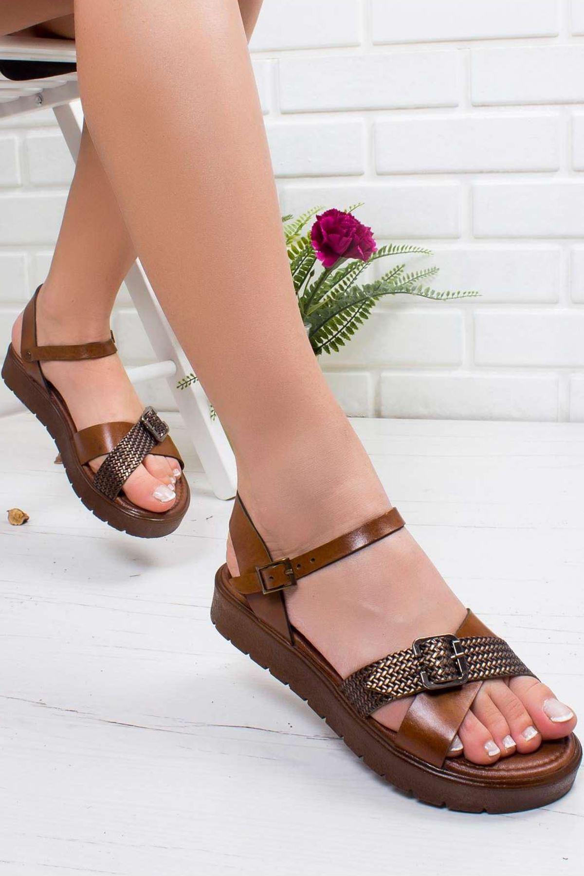 Olive Hakiki Deri Sandalet TABA