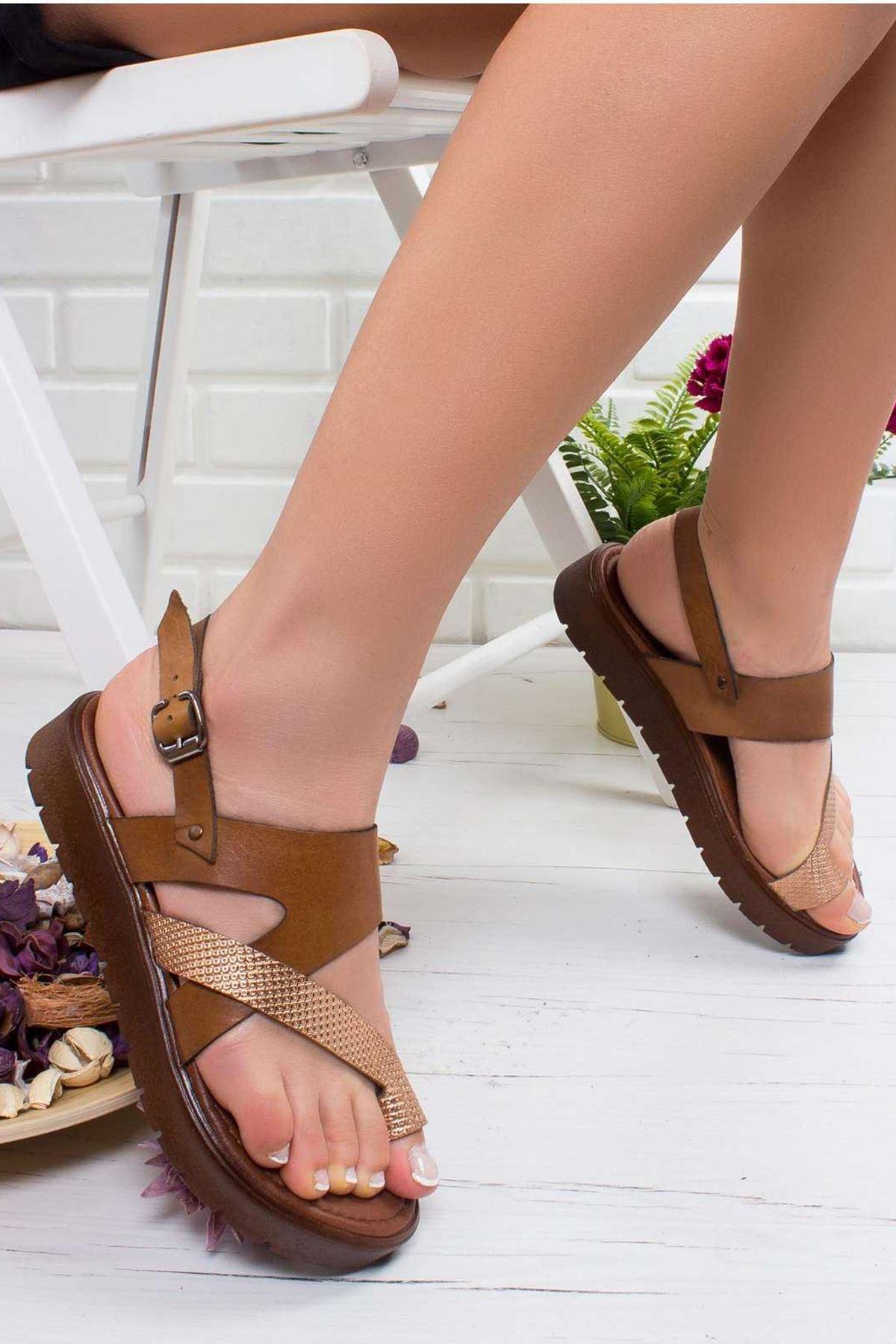 Lona Hakiki Deri Sandalet TABA