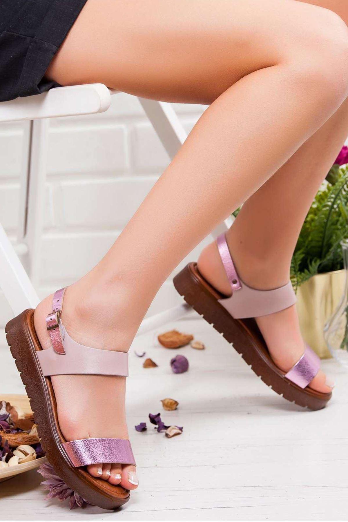 Maria Hakiki Deri Sandalet FUJYA- PUDRA