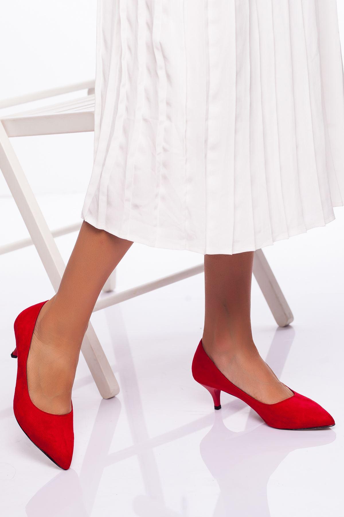 Abella Topuklu Ayakkabı KIRMIZI SÜET