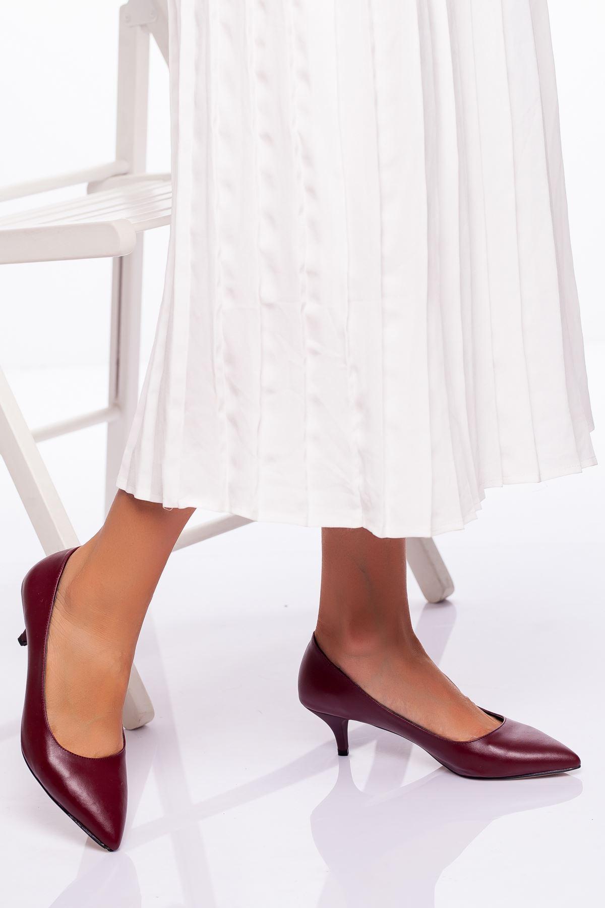 Abella Topuklu Ayakkabı Bordo Cilt