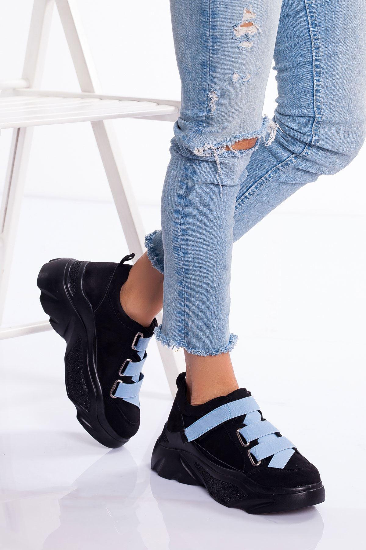 Mita Spor Ayakkabı SİYAH-MAVİ