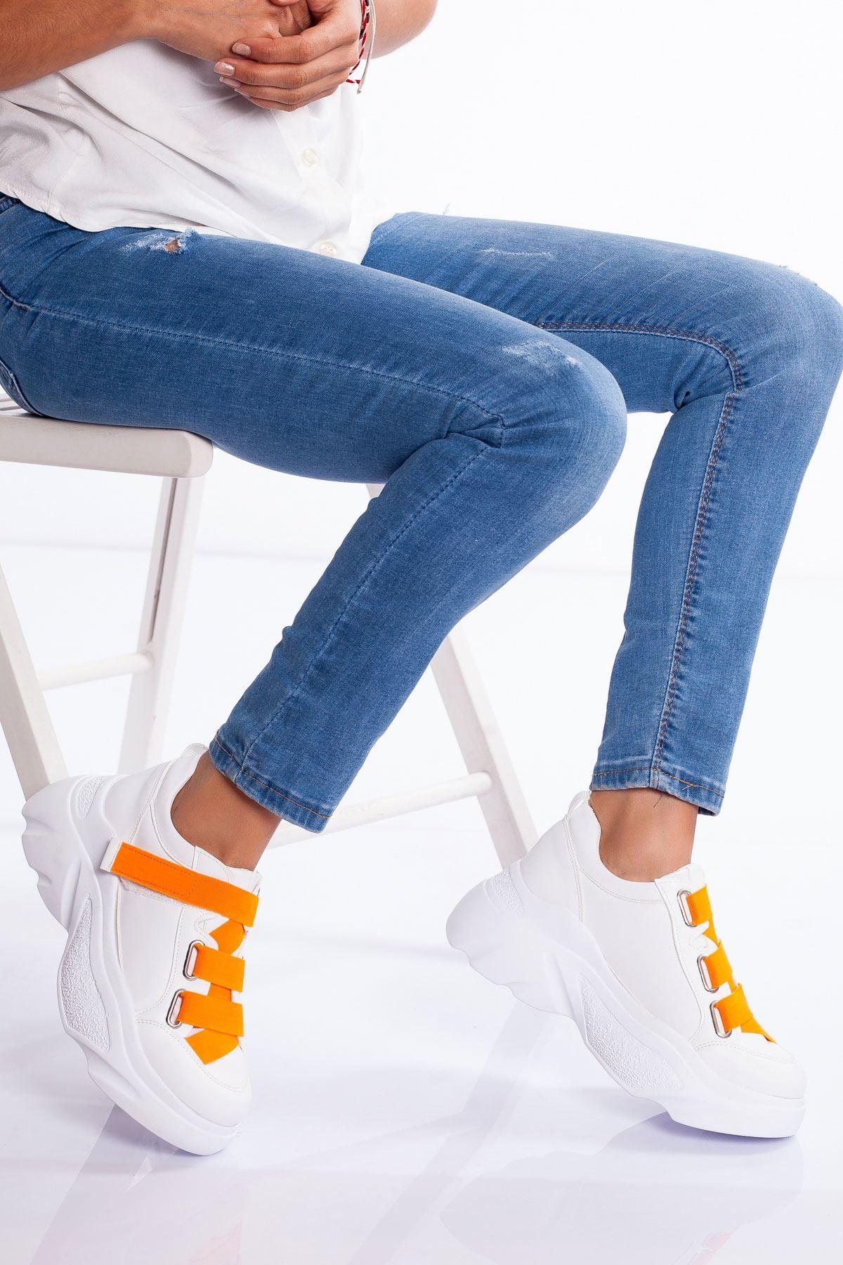 Mita Spor Ayakkabı BEYAZ-TURUNCU
