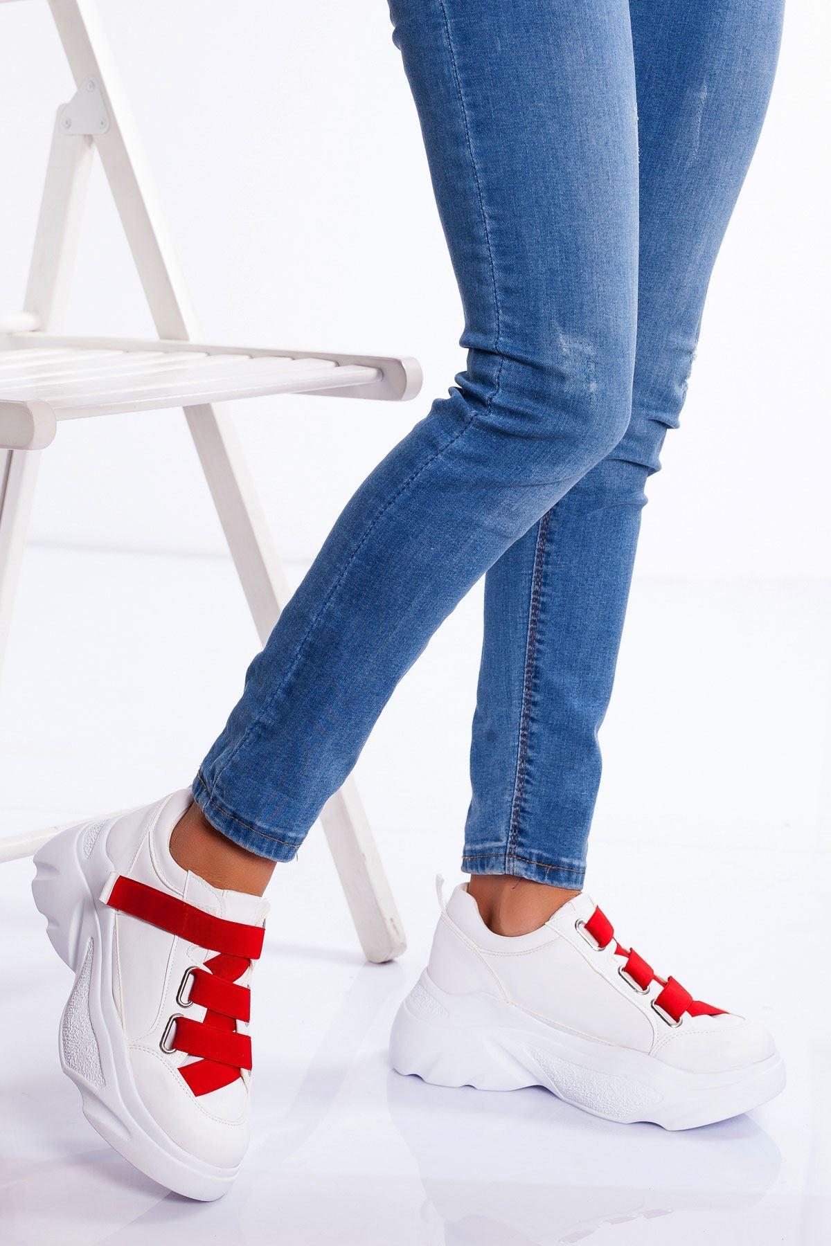 Mita Spor Ayakkabı BEYAZ-KIRMIZI