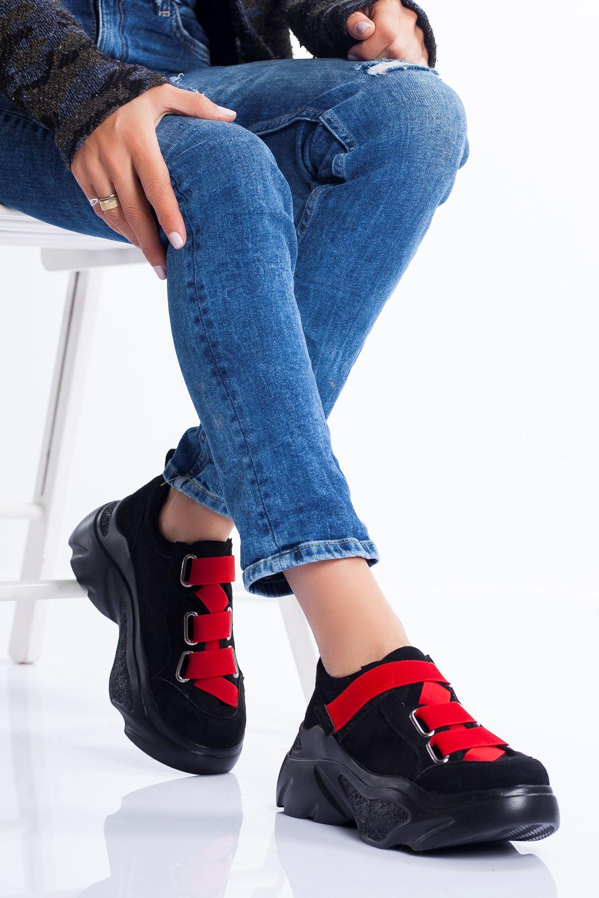 Mita Spor Ayakkabı SİYAH- KIRMIZI