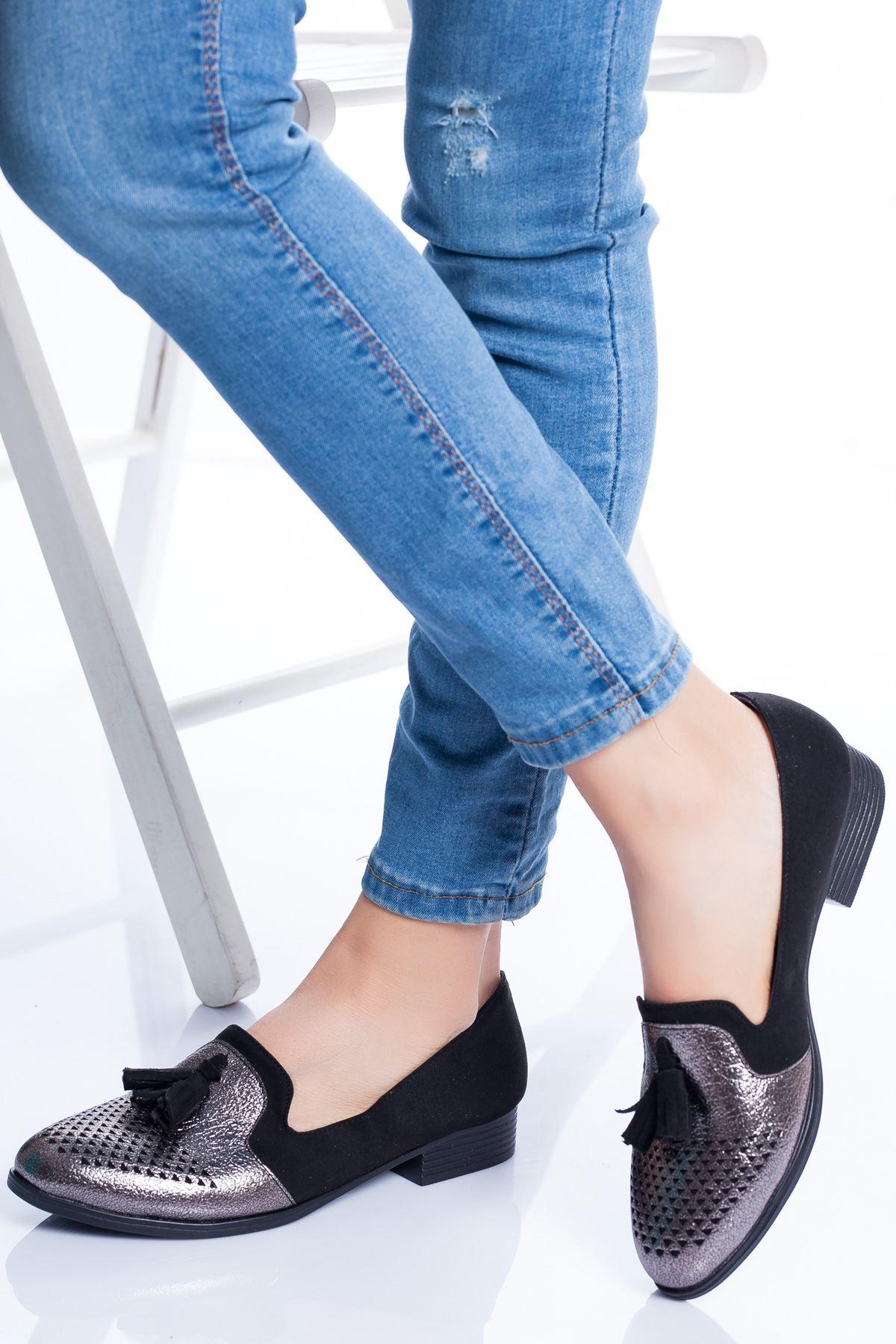 Logan Babet Ayakkabı SİYAH SÜET-PLATİN