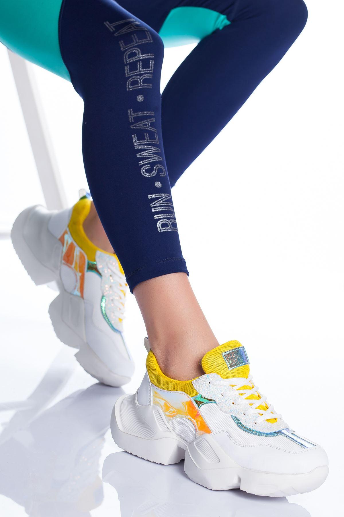 Nelly Spor Ayakkabı BEYAZ-SARI