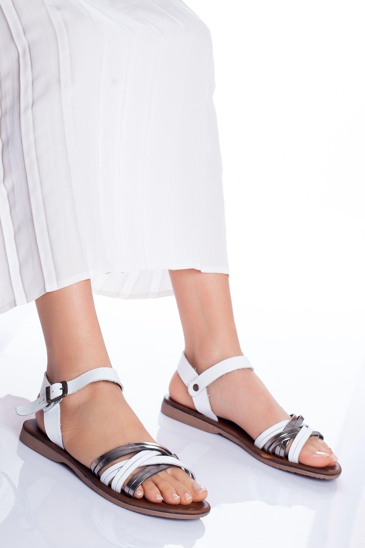 Dorel Hakiki Deri Sandalet BEYAZ