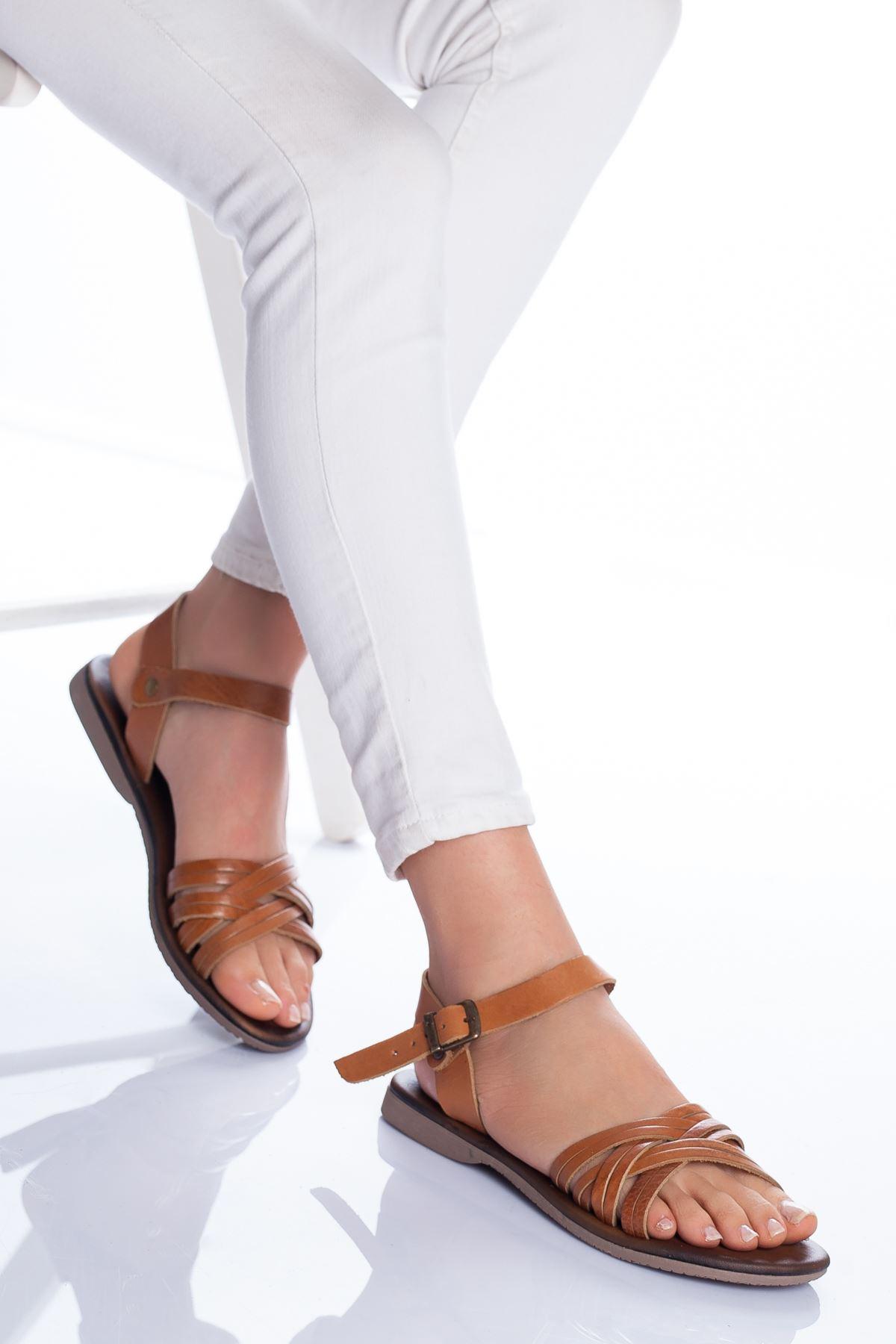Dorel Hakiki Deri Sandalet TABA