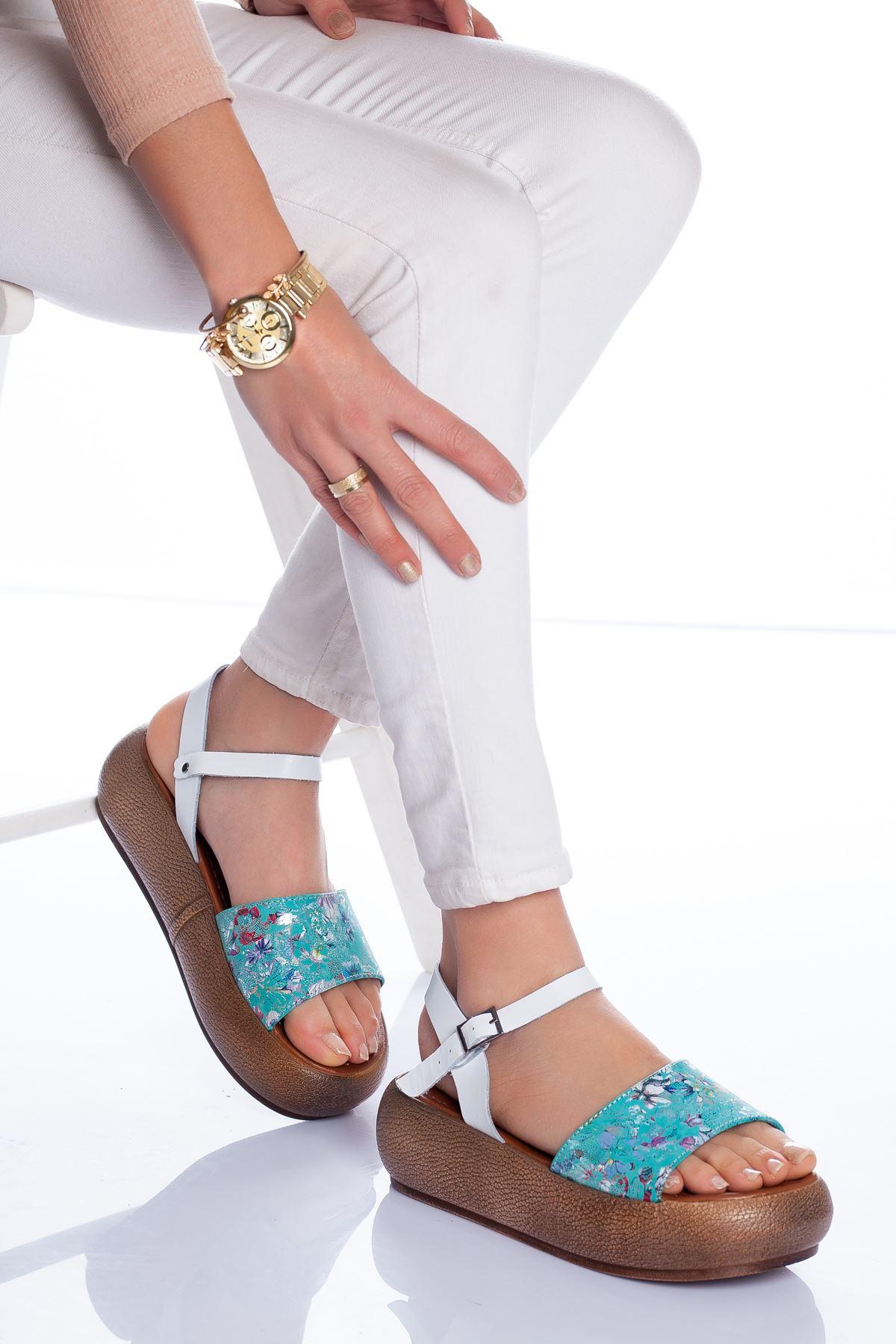Lizy Deri Sandalet YEŞİL