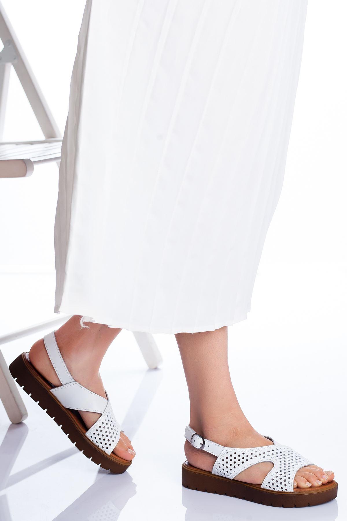 Haley Hakiki Deri Sandalet BEYAZ