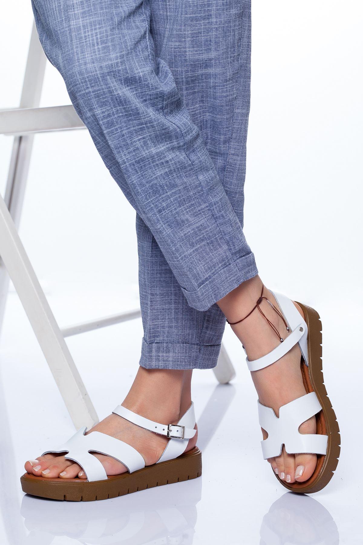 Nancy Hakiki Deri Sandalet BEYAZ
