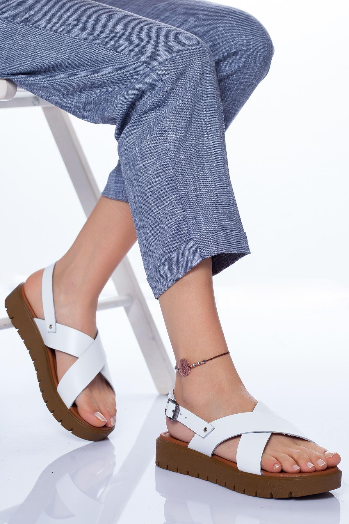 Cara Hakiki Deri Sandalet BEYAZ