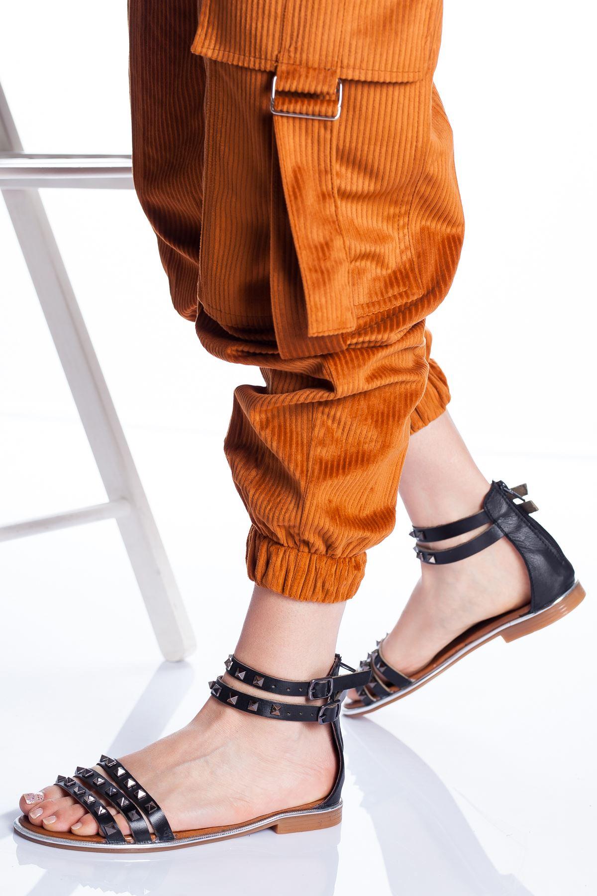Orina Deri Sandalet SIYAH