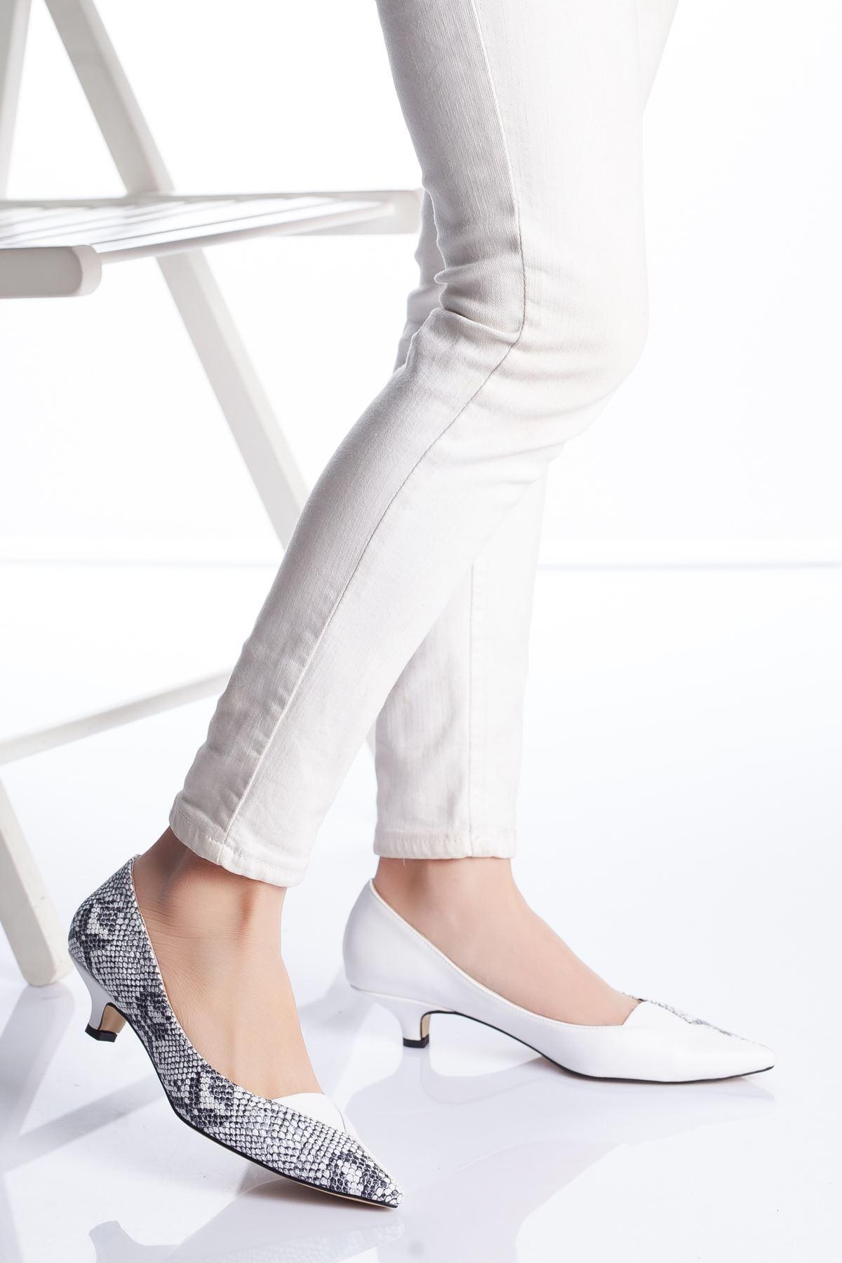 Odella Topuklu Ayakkabı BEYAZ-YILAN