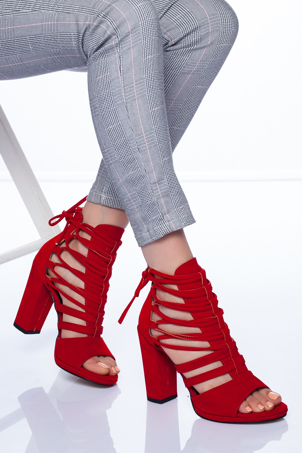 Petra Topuklu Ayakkabı KIRMIZI SÜET