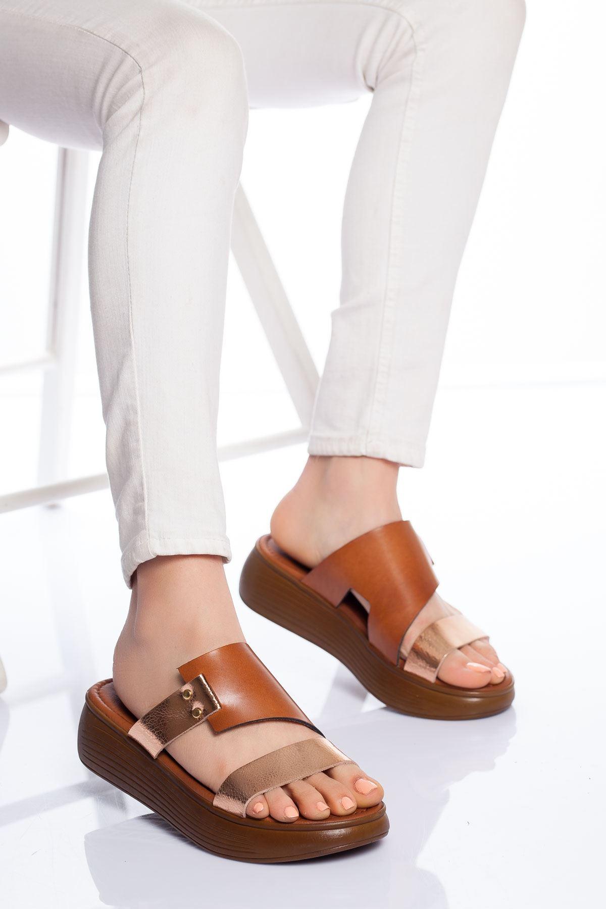 Lori Hakiki Deri Sandalet TABA-GOLD